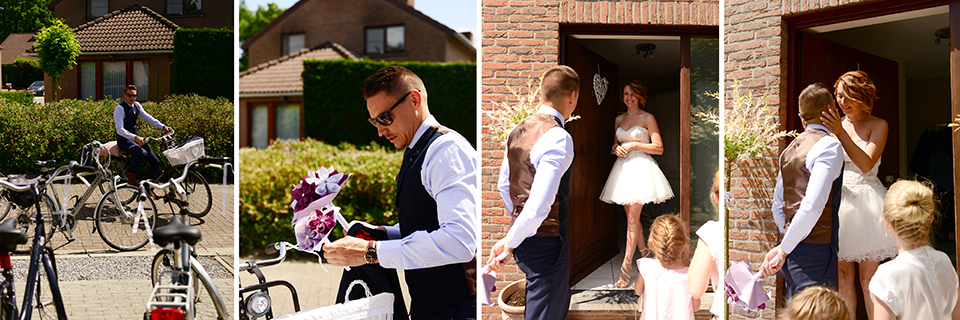 Bouquet of paper and bride and groom on bicycle